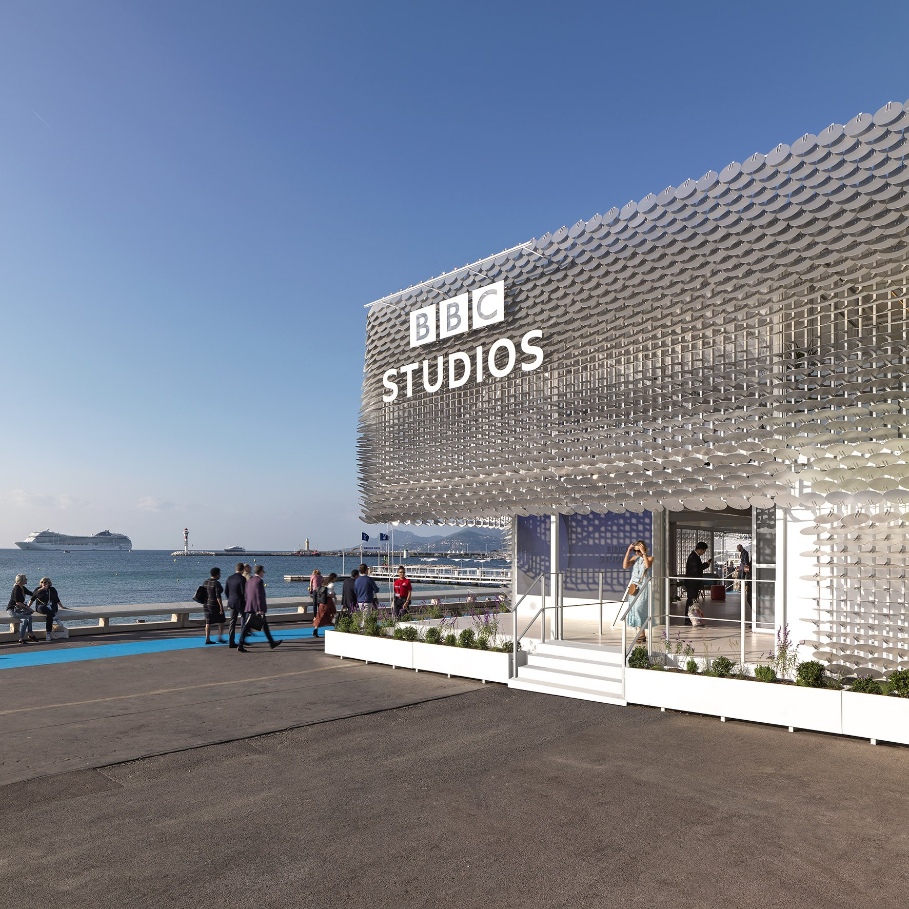Front view of the BBC Pavilion at MIPCOM 2019, Cannes designed by Universal